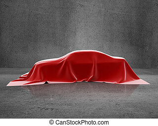 car presentation on a concrete room