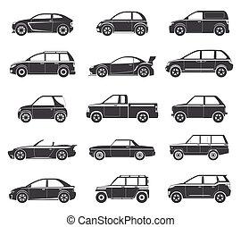 car, pretas, ícones