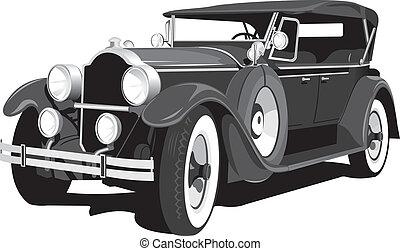 car, pretas, retro