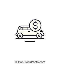 Car price linear icon concept. Car price line vector sign, symbol, illustration.