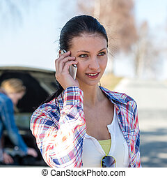 Car problem woman call road help - Broken car young woman ...