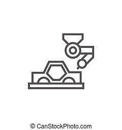 Car production line icon.