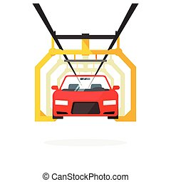 Car production line vector illustration auto maintenance process, automobile manufacturing