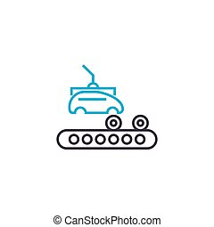 Car production linear icon concept. Car production line vector sign, symbol, illustration.