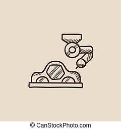 Car production sketch icon.