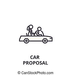 car proposal thin line icon, sign, symbol, illustation, linear concept, vector