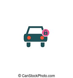 Car protected Icon Vector. Flat simple color pictogram