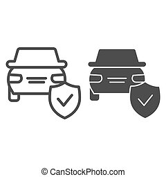 Car protection emblem line and solid icon. Vehicle with shield, safe driving symbol, outline style pictogram on white background. Auto accident sign for mobile concept and web design. Vector graphics.
