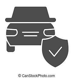 Car protection emblem solid icon. Vehicle with shield, safe driving symbol, glyph style pictogram on white background. Auto accident sign for mobile concept and web design. Vector graphics.