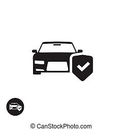 Car protection vector icon isolated, concept of auto insurance symbol