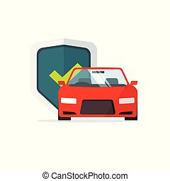 Car protection vector illustration, flat cartoon automobile with shield protected and checkmark, concept of auto security, insurance symbol, guard sign isolated
