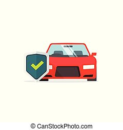 Car protection vector symbol, flat cartoon auto with shield and tick, concept of protected automobile sign, car insurance, vehicle guard label isolated on white clipart