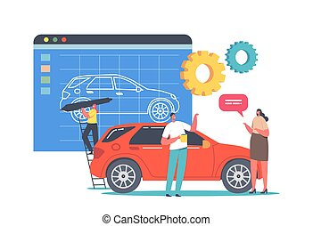 Car Prototyping Process, Transportation Prototype Creation. Tiny Designer Character Painting Huge Model of Automobile