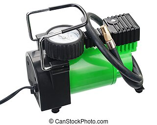 Car pump with manometer, air compressor on white background