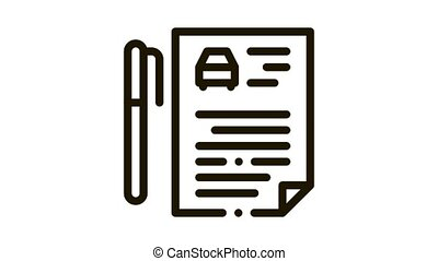 car purchase agreement Icon Animation. black car purchase agreement animated icon on white background