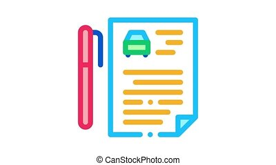 car purchase agreement Icon Animation. color car purchase agreement animated icon on white background