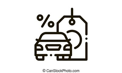 car purchase at interest Icon Animation. black car purchase at interest animated icon on white background