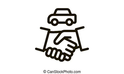 car purchase deal Icon Animation. black car purchase deal animated icon on white background