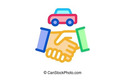 car purchase deal Icon Animation. color car purchase deal animated icon on white background