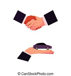 Car purchase, rental concept, hand and handshake