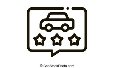 car quality assessment Icon Animation. black car quality assessment animated icon on white background