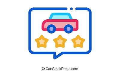 car quality assessment Icon Animation. color car quality assessment animated icon on white background