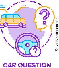 Car Question Vector Concept Color Illustration