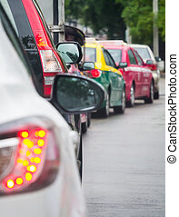 Car queue in the bad traffic road