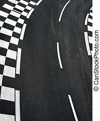 Car race asphalt on Grand Prix street track
