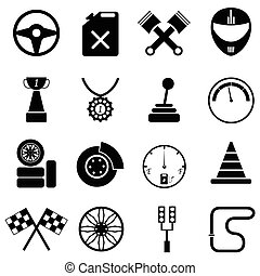 car race icon set