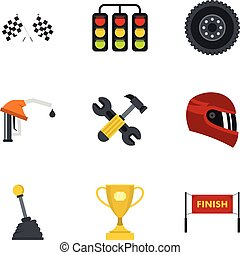 Car race icons set, flat style