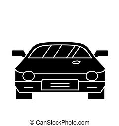 car - race - racing icon, vector illustration, black sign on isolated background