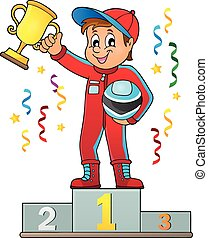 Car racer holding trophy theme image 2