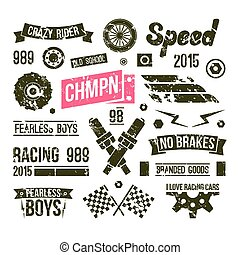 Car races club badges in retro style. Graphic design for t-...