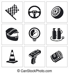Car racing and pumping Vector Icons - Racing Icon collection...