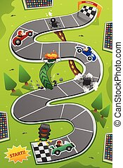 Car Racing Board Game Illustration