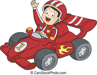 Car Racing Boy - Illustration of a Little Boy Happily Waving...