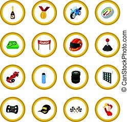Car racing cartoon icon circle