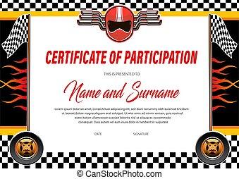 Car racing certificate diploma template, rally