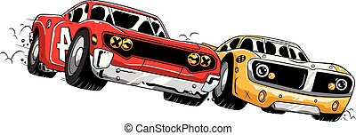 Car Racing Competition - Cartoon illustration of a close...