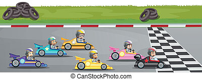 Car racing competition - Illustration of a car racing ...