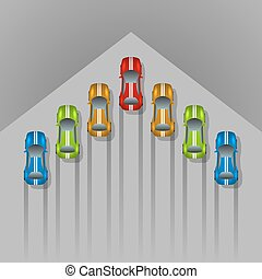 Car racing concept arrow shaped background with copy space.