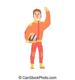 Car racing driver man in an orange uniform greeting fans, member of racing team vector Illustration