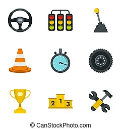 Car racing icons set, flat style