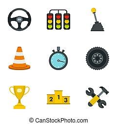 Car racing icons set, flat style