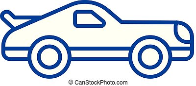 Car racing line icon concept. Car racing flat  vector symbol, sign, outline illustration.