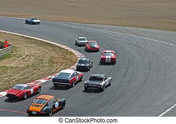 car racing on spiral road