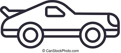 car racing vector line icon, sign, illustration on background, editable strokes