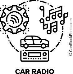 Car Radio Device Vector Concept Black Illustration