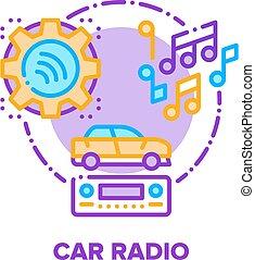 Car Radio Device Vector Concept Color Illustration
